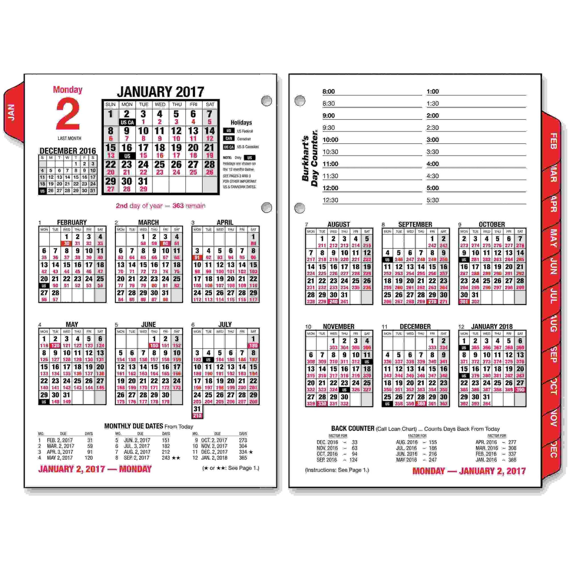 Burkhart's Day Counter Desk Calendar Refill, 4 1/2 x 7 3/8, White, 2017