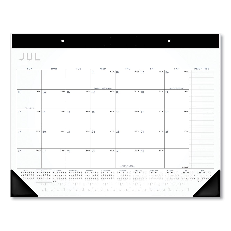 Academic Monthly Desk Pad, 21.75 x 17, Black/White, 2020-2021