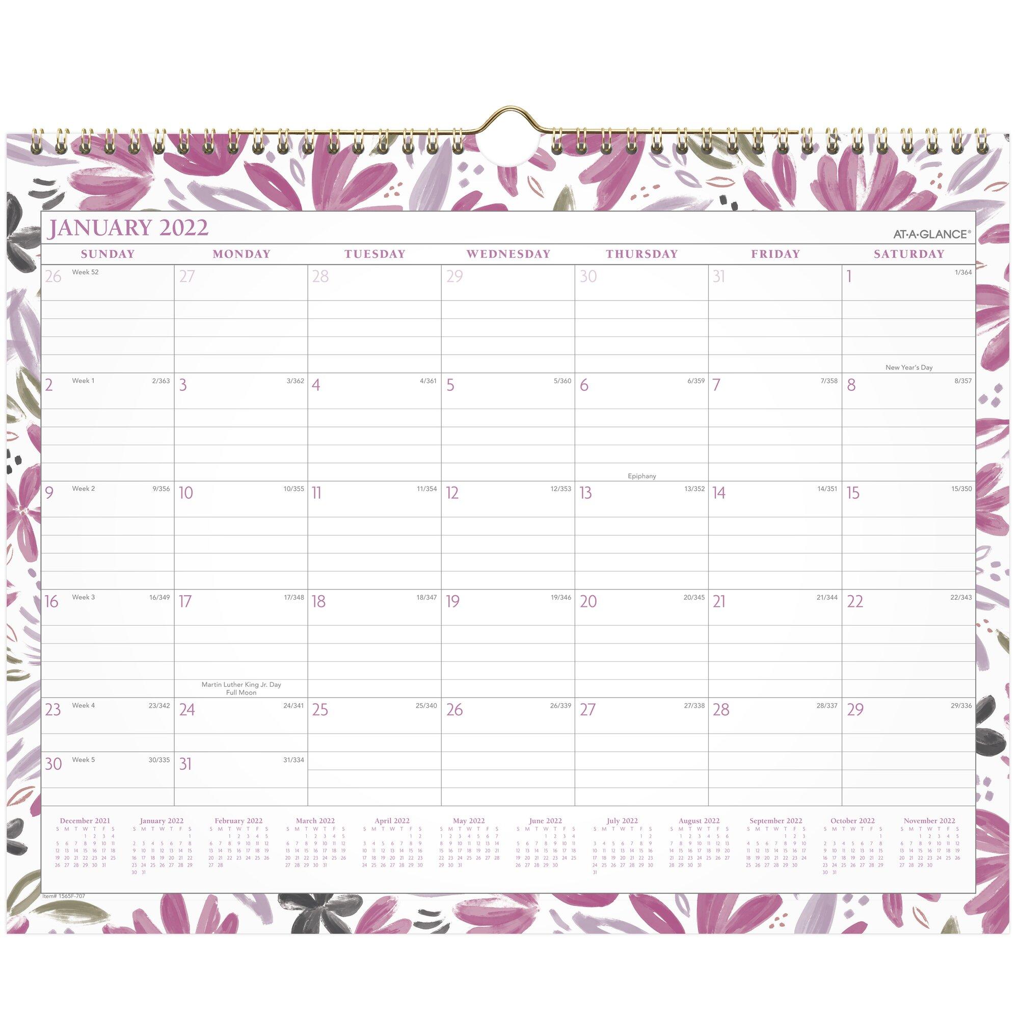 Badge Floral Wall Calendar, 15 x 12, 2022