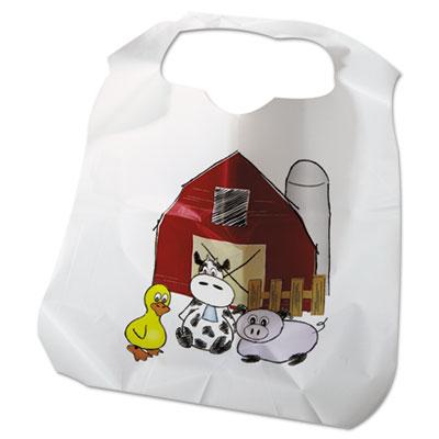 Disposable Child-Size Poly Bibs, Zoo/Farm Pattern, Children's, 250/Carton