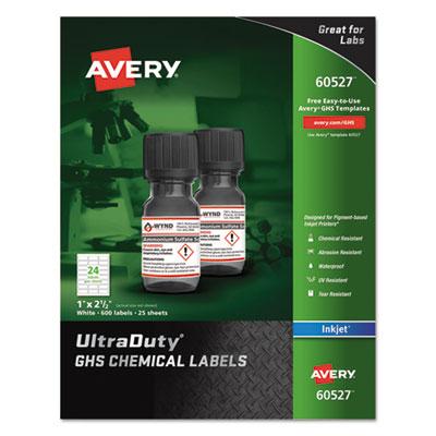 GHS Chemical Waterproof & UV Resistent Labels, Inkjet, 1 x 2 1/2, 600/Pack