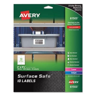 Surface Safe ID Labels, Inkjet/Laser, 2 x 3 1/2, White, 10/Sheet, 25 Sheets/PK