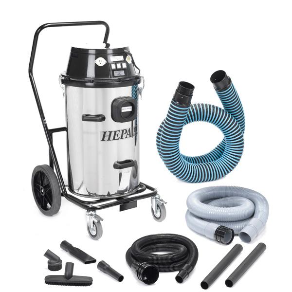 RoVac 15 Gallon Stainless Steel 3-Motor Chimney and Dryer Vent HEPA Vacuum - 1107-3 - VAC-3MOTORSTAIN