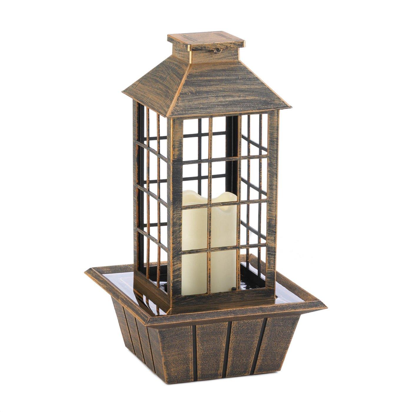 Bronzed Lantern Tabletop Fountain