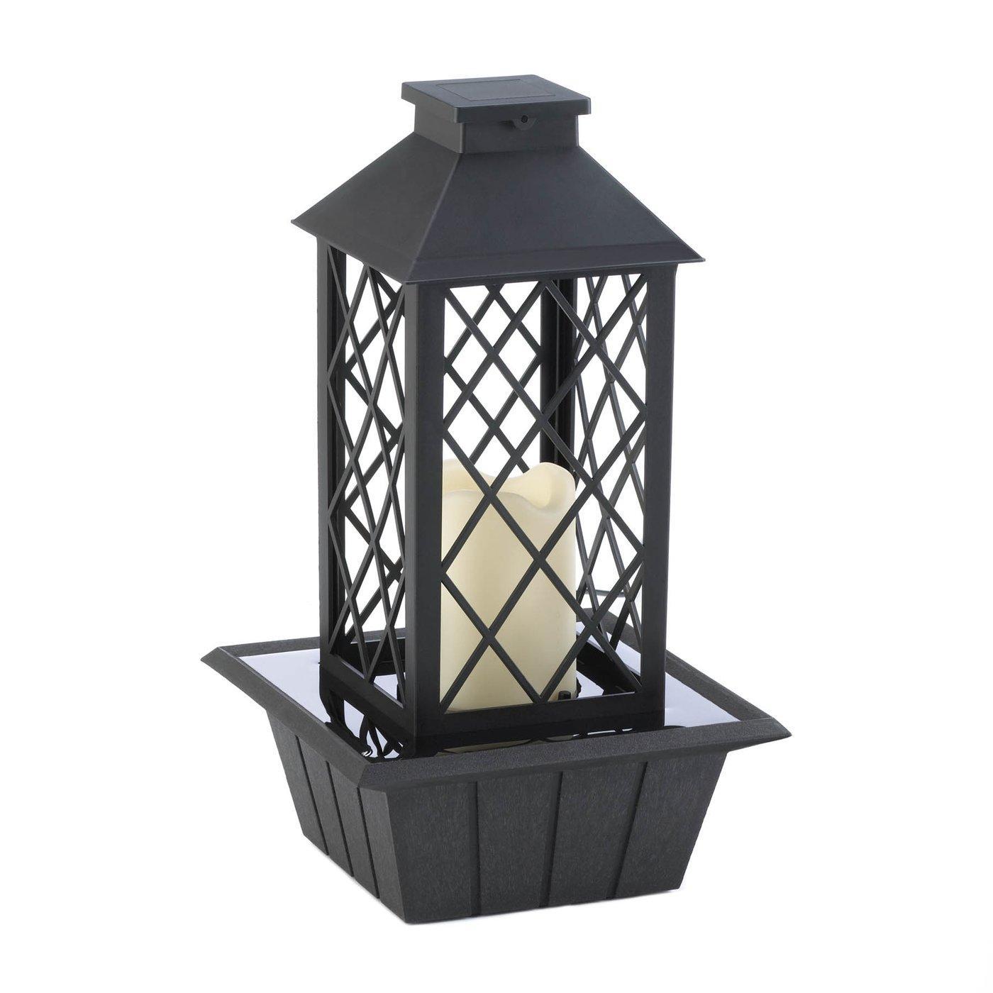 Black Lantern Tabletop Fountain