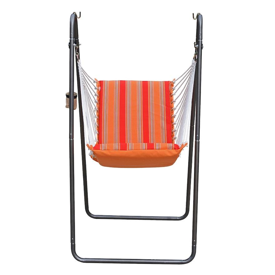 Deluxe Soft Comfort Hanging Chair SUNBRELLA - Bravada Salsa