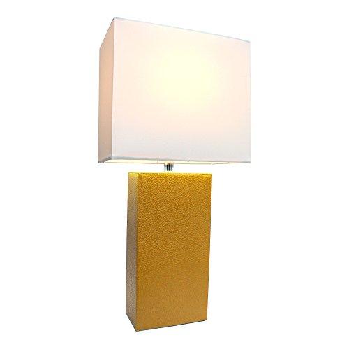 Elegant Designs Modern Tan Leather Table Lamp