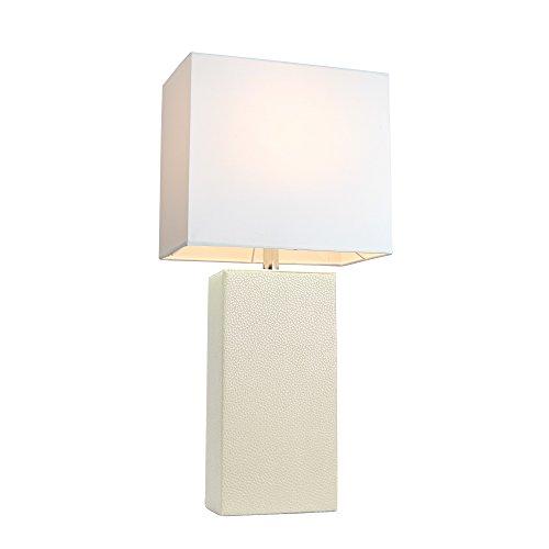 Elegant Designs Modern White Leather Table Lamp