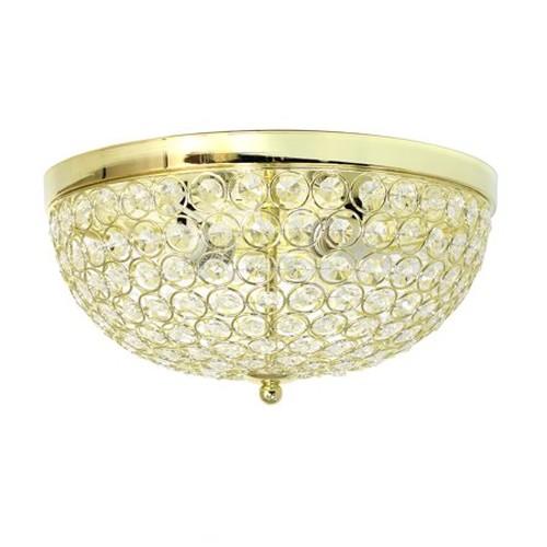 Elegant Designs 2 Light Elipse Crystal Flush Mount Ceiling Light, Gold