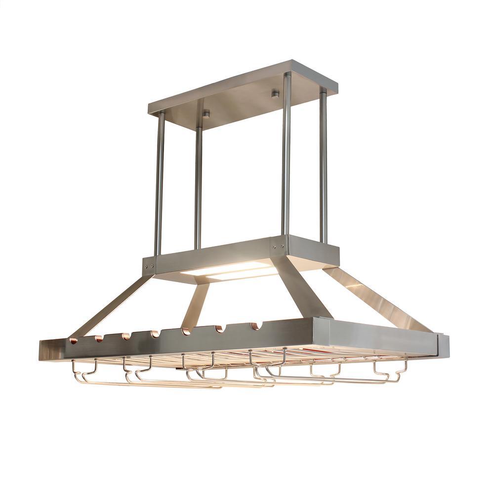Elegant Designs 2 Light LED Overhead Wine Rack, Brushed Nickel