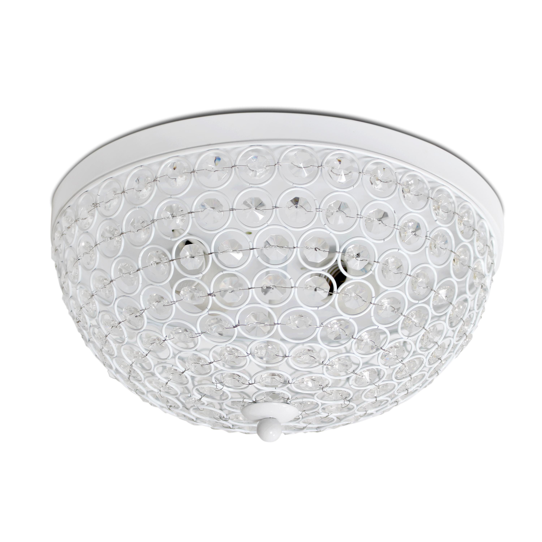 Elegant Designs 2 Light Elipse Crystal Flush Mount Ceiling Light, White