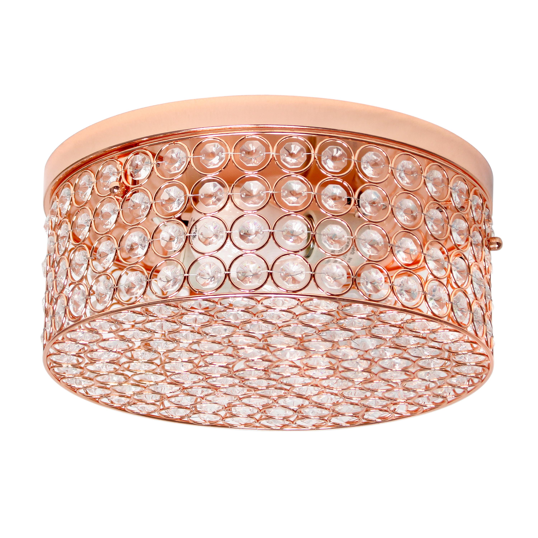Elegant Designs 12 Inch Elipse Crystal 2 Light Round Ceiling  Flush Mount, Rose Gold