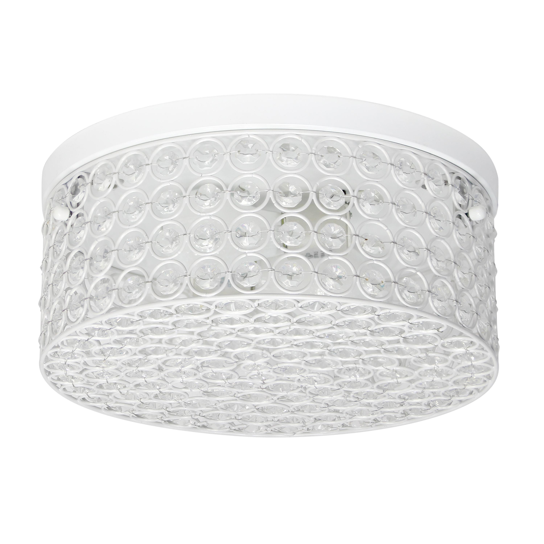Elegant Designs 12 Inch Elipse Crystal 2 Light Round Ceiling  Flush Mount,White