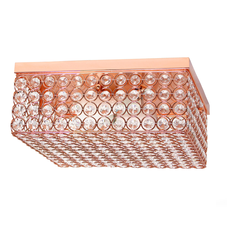 Elegant Designs 12 Inch Elipse Crystal 2 Light Square Ceiling Flush Mount, Rose Gold