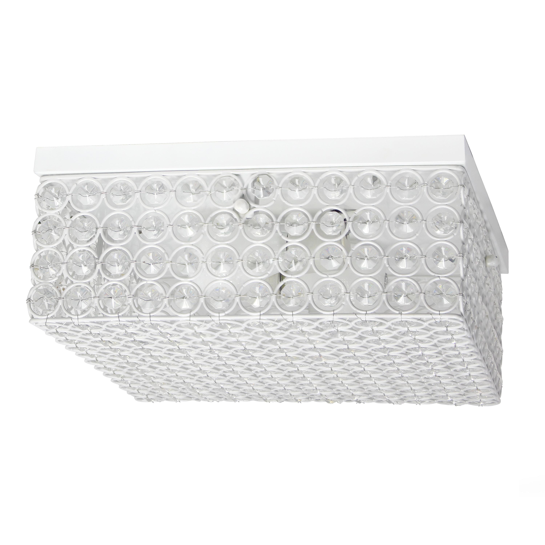 Elegant Designs 12 Inch Elipse Crystal 2 Light Square Ceiling Flush Mount, White