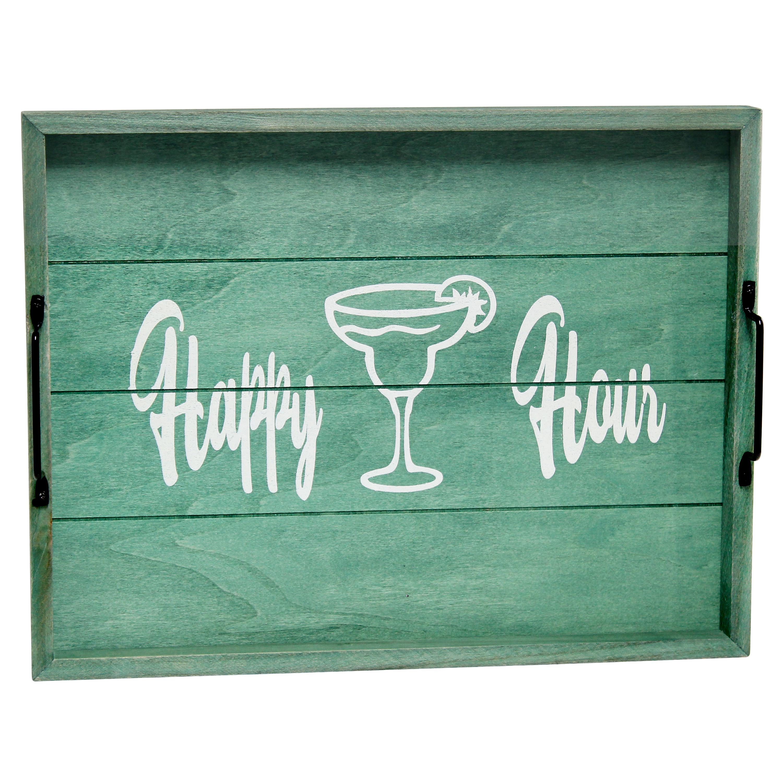 "Elegant Designs Decorative Wood Serving Tray w/ Handles, 15.50"" x 12"", ""Happy Hour"""
