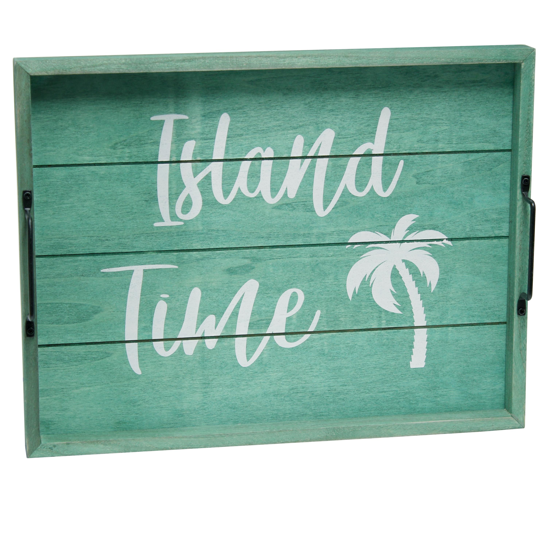 "Elegant Designs Decorative Wood Serving Tray w/ Handles, 15.50"" x 12"", ""Island Time"""
