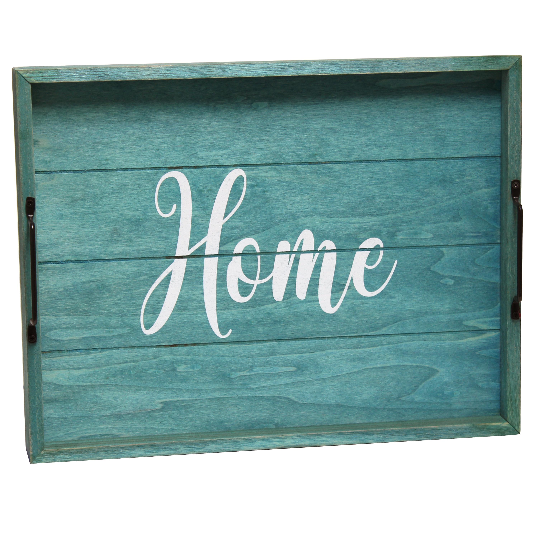 Elegant Designs Decorative Wood Serving Tray w/ Handles, 15.50
