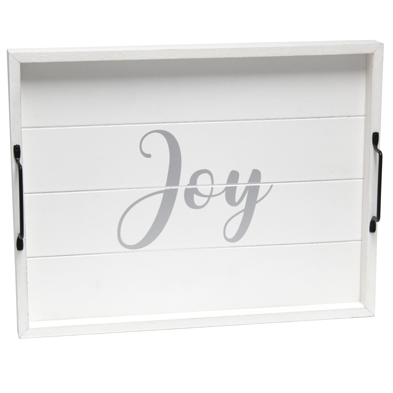 "Elegant Designs Decorative Wood Serving Tray w/ Handles, 15.50"" x 12"", ""Joy"""