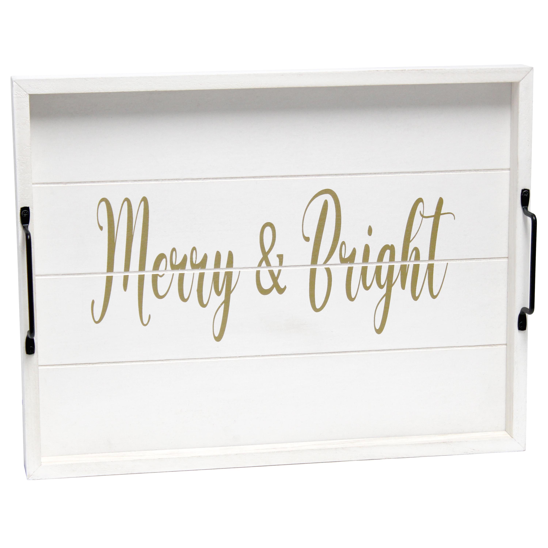 "Elegant Designs Decorative Wood Serving Tray w/ Handles, 15.50"" x 12"", ""Merry & Bright"""