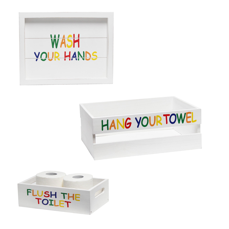 Elegant Designs Three Piece Decorative Wood Bathroom Set, Large, Kids  (1 Towel Holder, 1 Frame, 1 Toilet Paper Holder)
