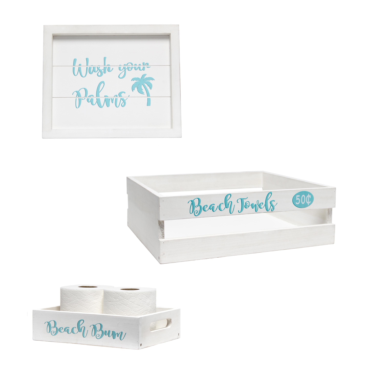 Elegant Designs Three Piece Decorative Wood Bathroom Set, Small, Coastal/Beach (1 Towel Holder, 1 Frame, 1 Toilet Paper Holder)