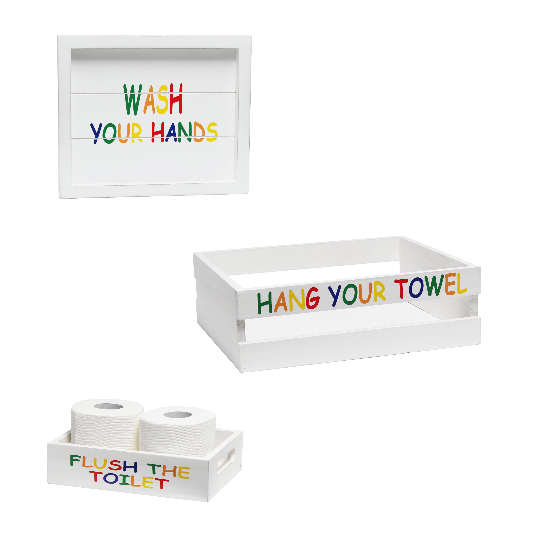 Elegant Designs Three Piece Decorative Wood Bathroom Set, Small, Kids  (1 Towel Holder, 1 Frame, 1 Toilet Paper Holder)