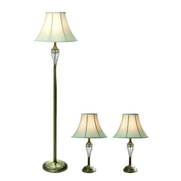 Elegant Designs Antique Brass Three Pack Lamp Set (2 Table Lamps, 1 Floor Lamp)
