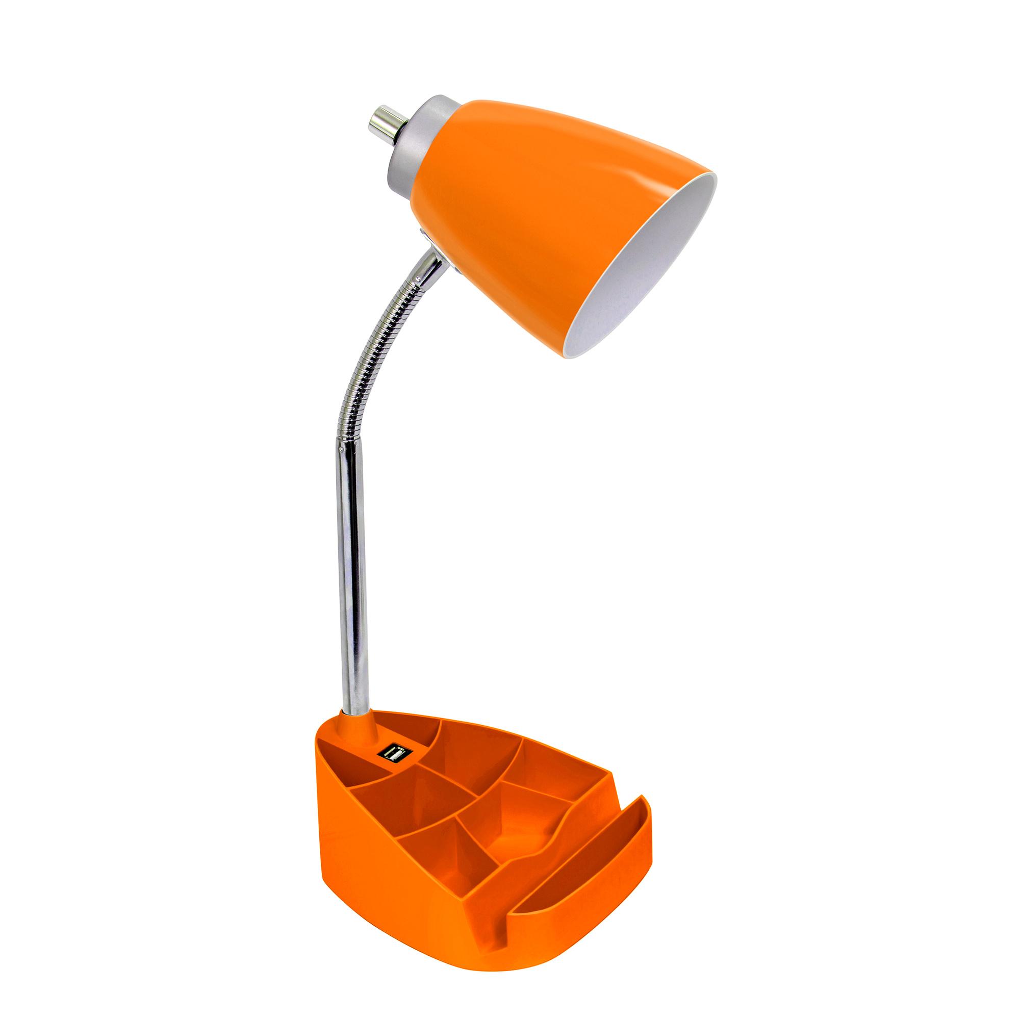 Limelights Gooseneck Organizer Desk Lamp with iPad Tablet Stand Book Holder and USB port, Orange