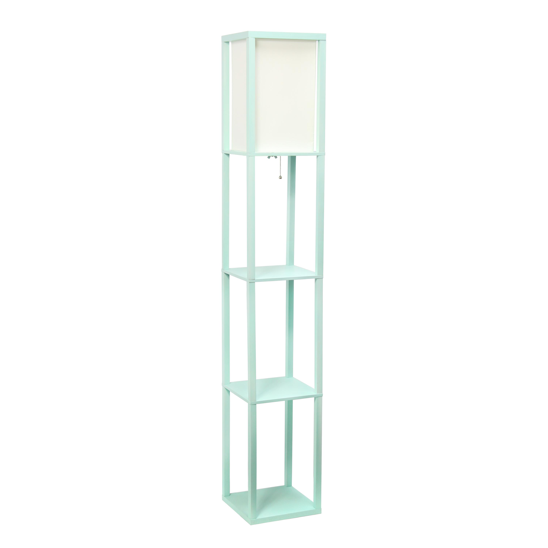 Simple Designs Floor Lamp Etagere Organizer Storage Shelf with Linen Shade, Aqua