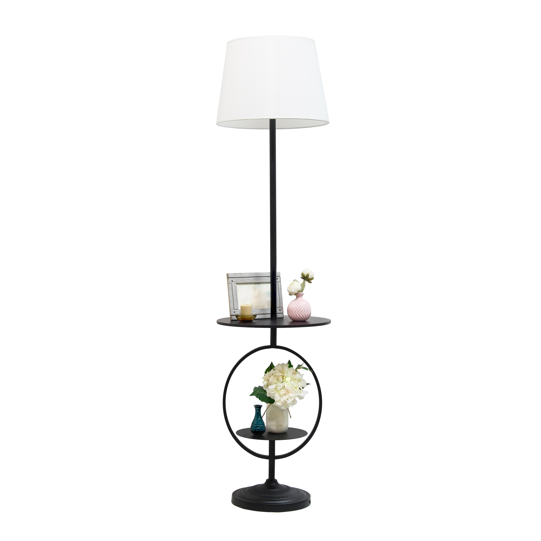 Elegant Designs Bedside Nightstand End Table Dual Shelf Decorative Floor Lamp, Black