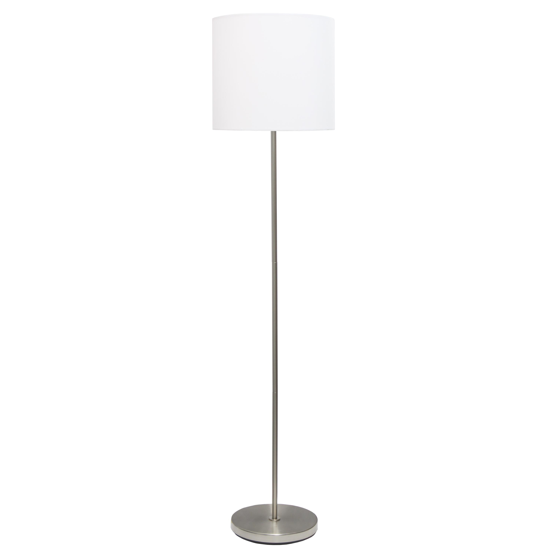 Simple Designs Brushed Nickel Drum Shade Floor Lamp, White