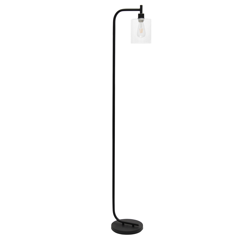 Simple Designs Modern Iron Lantern Floor Lamp with Glass Shade, Black