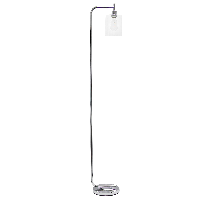 Simple Designs Modern Iron Lantern Floor Lamp with Glass Shade, Chrome