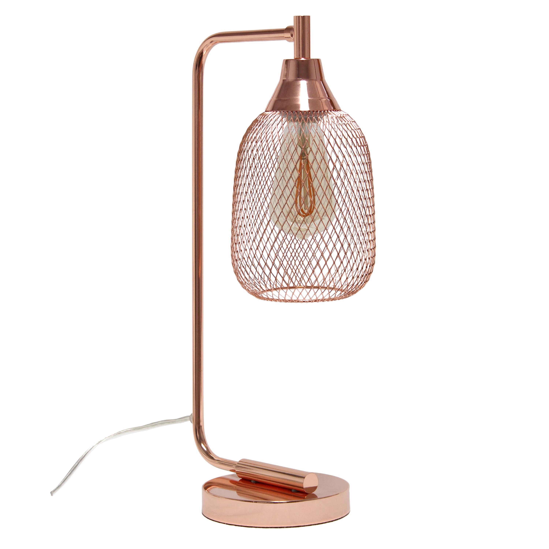 Lalia Home Industrial Mesh Desk Lamp, Rose Gold