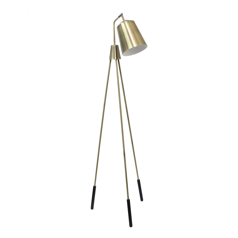 Lalia Home Industrial 1 Light Tripod Floor Lamp with Interior White Spotlight, Antique Brass