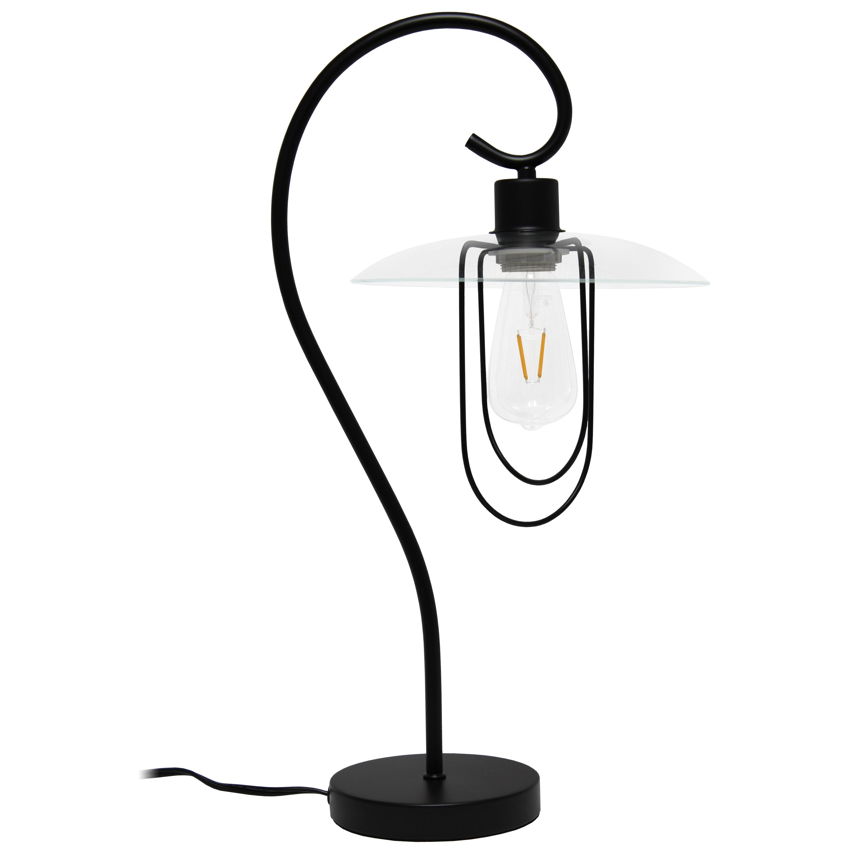 Lalia Home Modern Metal Scroll Table Lamp, Black