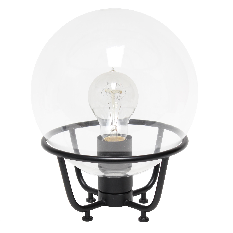 Lalia Home Old World Globe Glass Table Lamp, Black