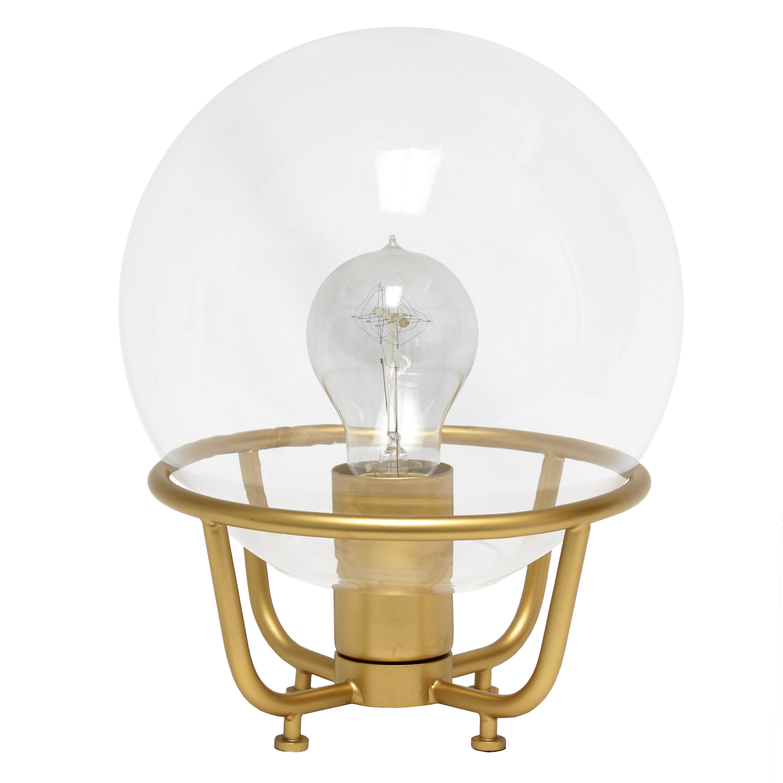 Lalia Home Old World Globe Glass Table Lamp, Matte Gold