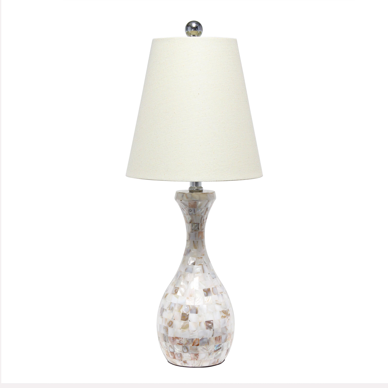 Lalia Home Malibu Curved Mosaic Seashell Table Lamp with Chrome Accents