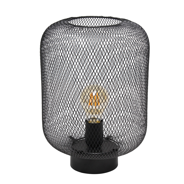 Simple Designs Black Metal Mesh Industrial Table Lamp