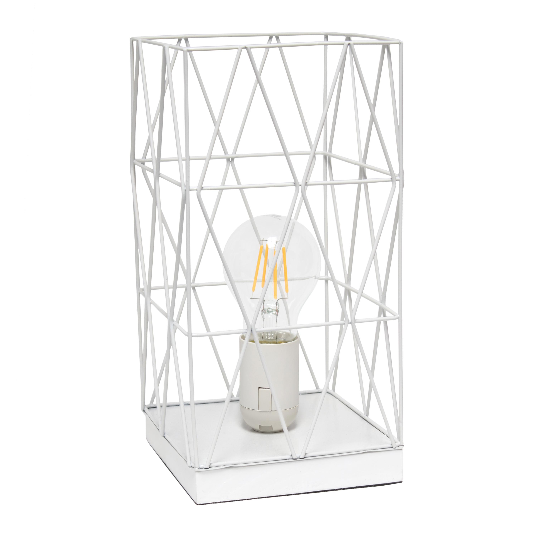 Simple Designs Gray Geometric Square Metal Table Lamp