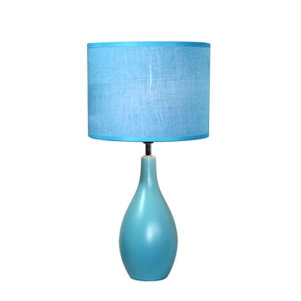Simple Designs Blue Oval Base Ceramic Table Lamp