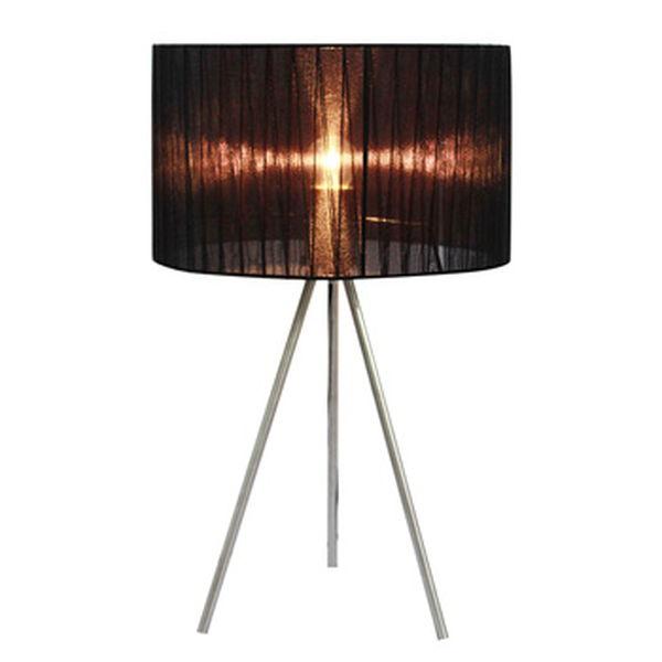 Simple Designs Black Sheer Silk Band Tripod Table Lamp