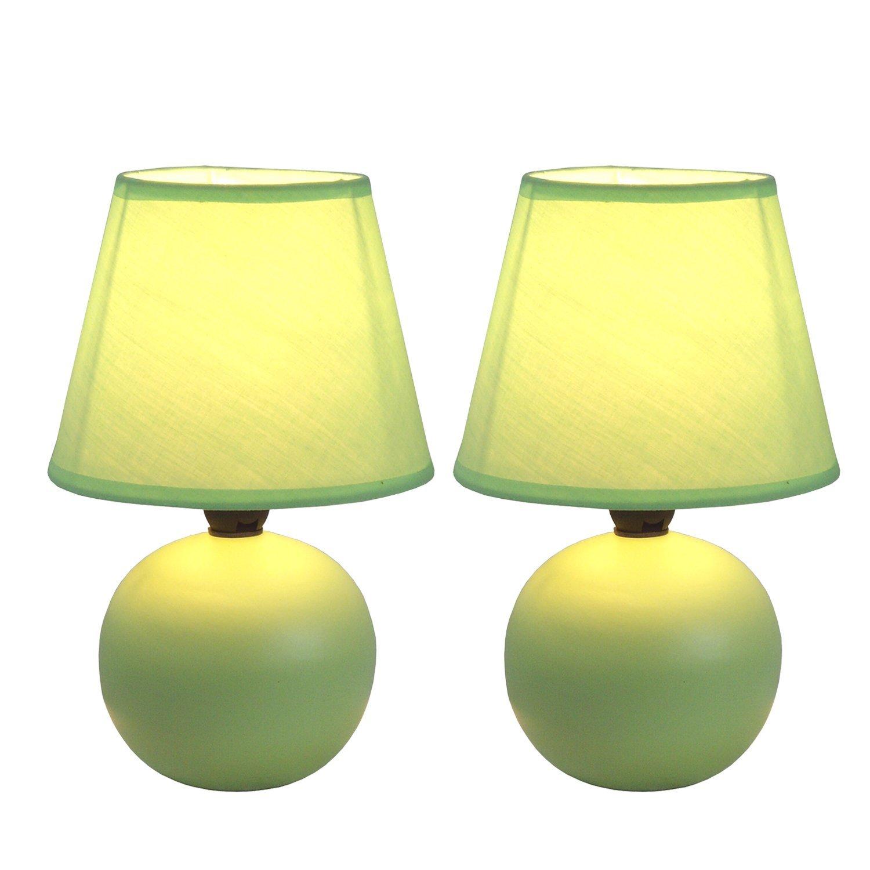 Simple Designs Mini Ceramic Globe Table Lamp 2 Pack Set