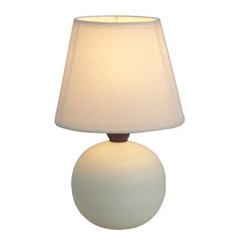 Simple Designs Off White Ceramic Globe Table Lamp