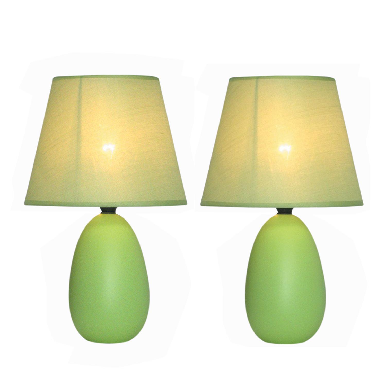 Simple Designs Mini Egg Oval Ceramic Table Lamp 2 Pack Set