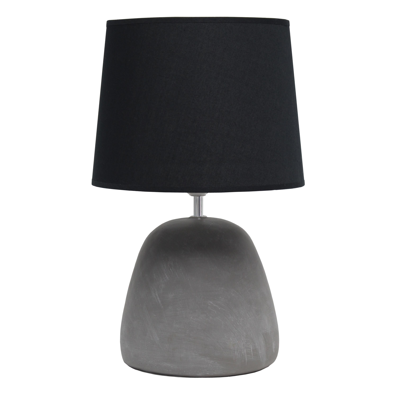 Simple Designs Round Concrete Table Lamp, Black
