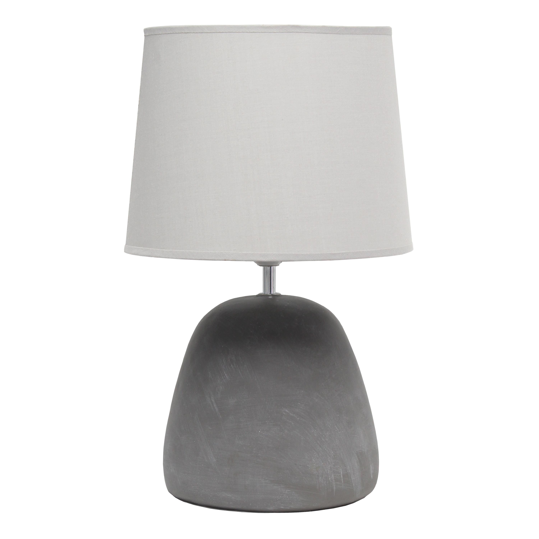 Simple Designs Round Concrete Table Lamp, Gray