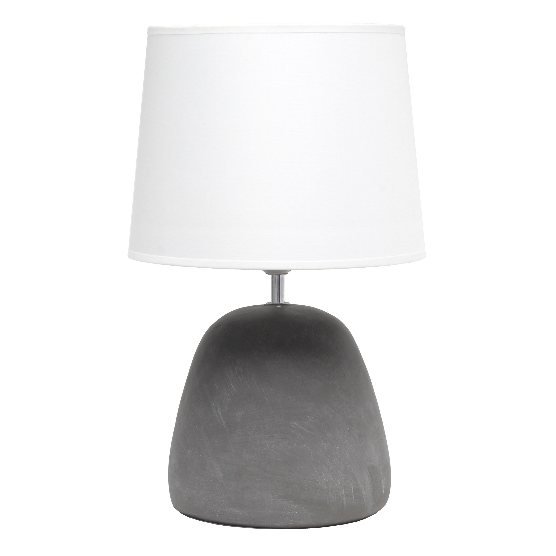Simple Designs Round Concrete Table Lamp, White